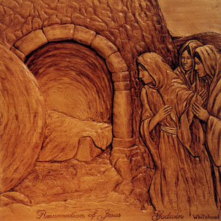 Jesus Christ resurrection at the empty tomb hd(hq) wooden art work free Christian religious wallpaper